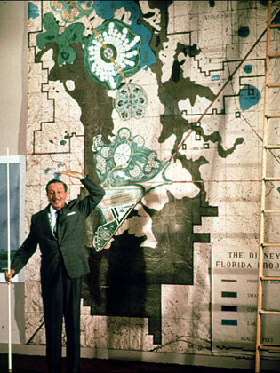fuckyeahwalterdisney:  Walt Disney with a map of the Florida Project, including EPCOT.