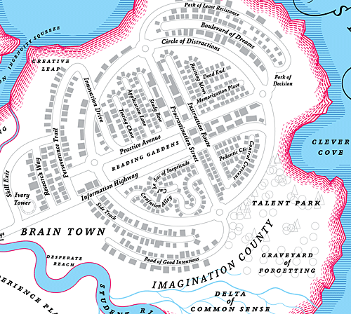 unruly-notruly:  Map of Brain Town, from the map of Knowledge by Marian Bantjes