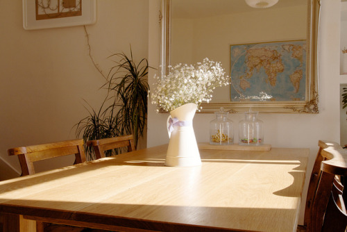 TysonOriginal_TableInSitu on Flickr. This is our fabulous table made by the very talented Johnny Tyson.   It is usually covered in breakfast/magazines/papers/laptops/wine so I took this rare opportunity to show it off.   Some details: it's oak, hand made, traditional joints and most importantly fits everyone we want round it whilst fitting our room perfectly.