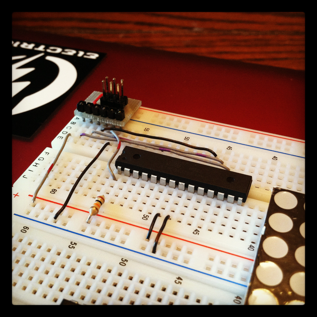 New breadboard setup utilizing the ISP breakout header I made.