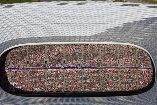 stadium-love-:  Above Allianz by Klaus Leidorf An aerial view of Allianz Arena in Munich, Germany