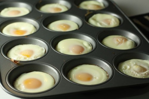 Check out this excellent time saving breakfast idea!Freezer egg sandwiches for busy mornings: Lightly grease muffin tins + crack one egg in each well. Stick these in a 350 degree oven for about 15-20 minutes. Assemble: English muffins + egg + cheese + veggies, wrap and freeze.What do you do to save time in the mornings?