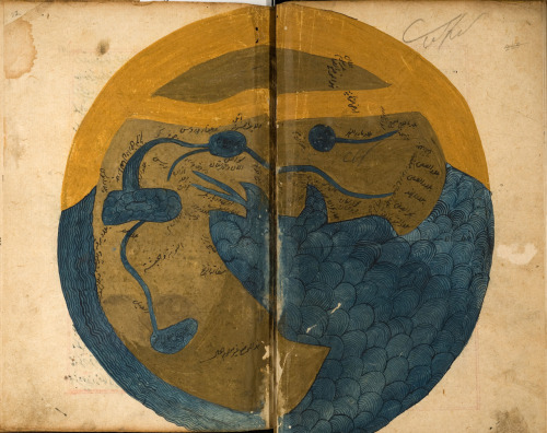 Map of the World, mid-1200's, from al-Qazwini's Wonders of Creation.  Considered to be one of the most important natural history transcripts of the medieval Islamic world. The author, al-Qazwini, was a noted natural historian and geographer of the time.
