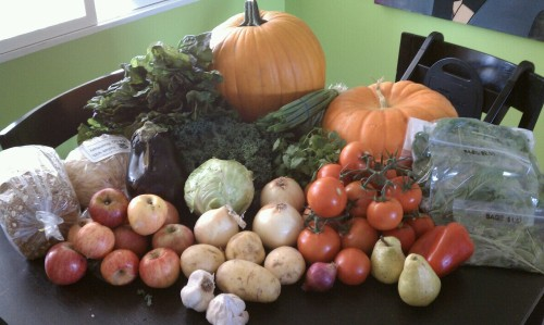 Farmer's market fare. $71.60 and I'll still have to get a few items like pasta and cheese at the store… But I think we might actually stay on budget {$120} this week!