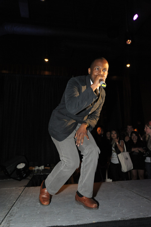 "ThigNat of The Physics performing at Zebra Club's fall fashion show ""Boudoir."""