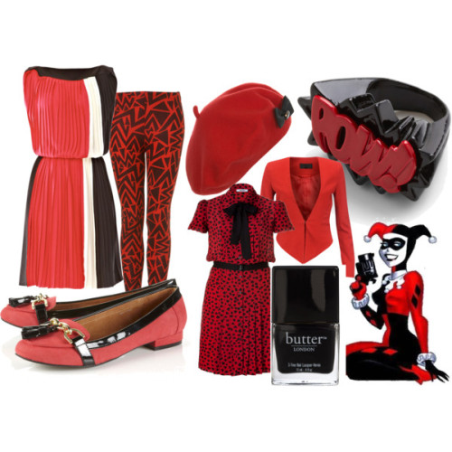 vintagesuperlady: Harley Quinn by heidialukas featuring flat heelsVionnet ivory evening dress, £1,313Moschino C C black pleated dress, $750SNOB blazer, €120Red pants, $40TopShop flat heels, $66Metal jewelry, $18Miss Selfridge wool hat, £13butter LONDON '3 Free Nail Lacquer Union Jack Black One Size, $14