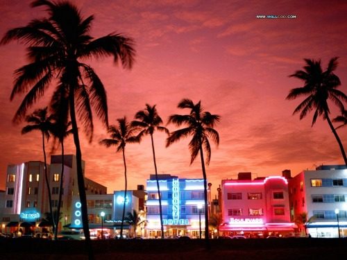 South Beach at sunset, Miami, Florida