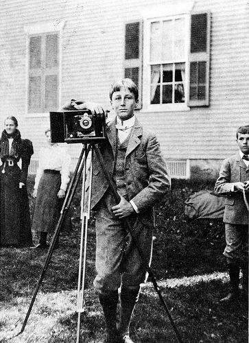 The future president Franklin D. Roosevelt with his camera in Fairhaven, Massachusetts, while en route to Groton. His cousin Warren Delano Robbins can be seen on the right. 1897. (FDR Presidential Library & Museum) » Picture Yourselves » FDR'S Fala
