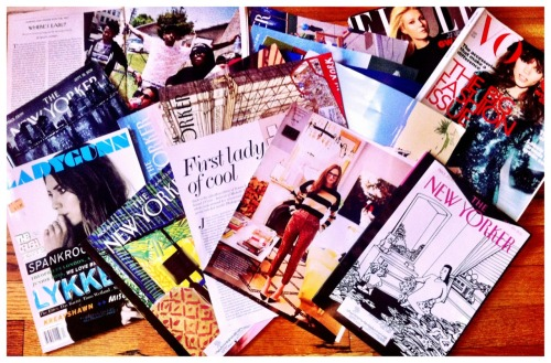 This is how I'm spending my Saturday night: curled up to a stack of magazines, including three months of unread New Yorkers, a profile on my girl crush Jenna Lyons, British Vogue, Ladygunn's fall issue (for which I wrote an essay), a profile on Odd Future, and September Elle. Adele serves as my reading soundtrack.