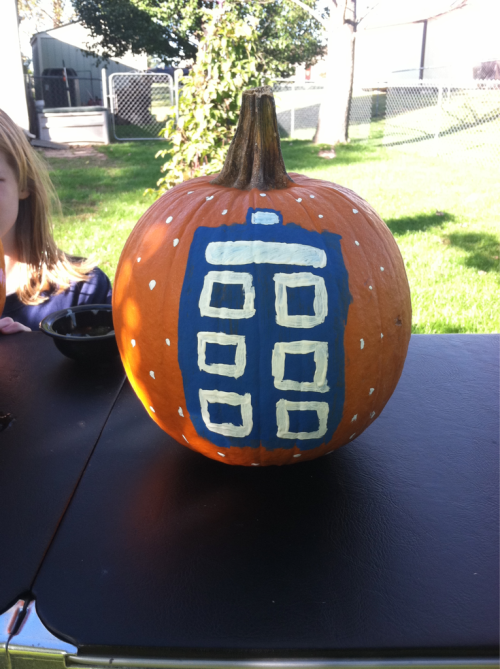 captainemilee:  The Tardis landed on my pumpkin.