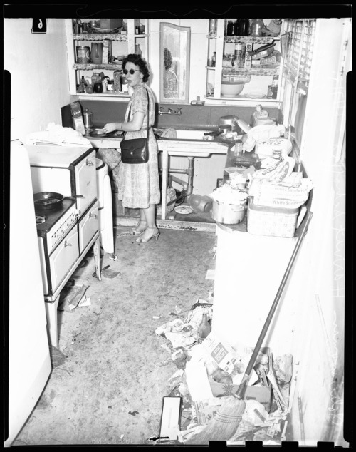 Unfit home for children, 17 September 1951. Leona Washburn  She can't clean her house, but she sure can accessorize!
