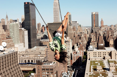 "MIA, by Ryan McGinley, 2010""We had to basically rig a truss for this swing; it was a major production to make sure it was safe. I tried it out. MIA might have gotten there and said, 'I'm not doing this; this is too crazy.' But she got on and just started swinging like it was something normal. I remember her ­saying, 'If I'm going to go out, this is an awesome way to go.'"""