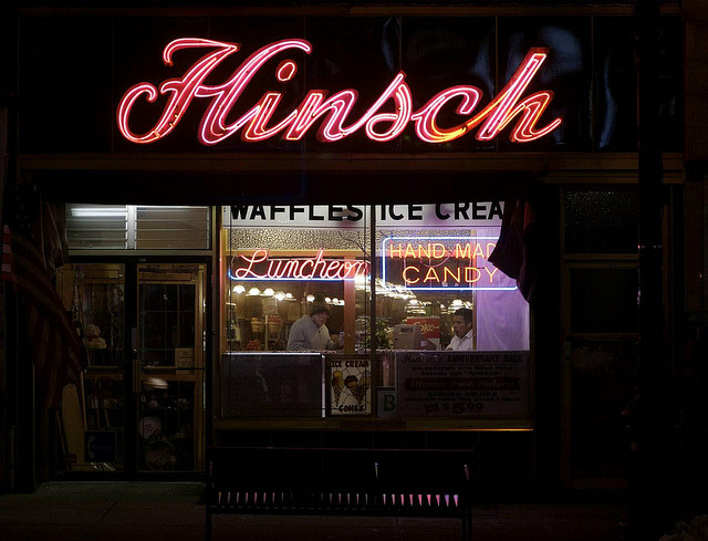 RIP HInsch's Confectioneryon 5th Avenue in Bay Ridge I am heartbroken to report that I learned this morning from the Coney Island History Project that Bay Ridge institution Hinsch's Confectionery has gone dark. There was little warning, and I myself was planning to visit again soon to get some better photos (here's the post from my visit last winter). Alas, unless an enlightened owner willing to pay top dollar for the rent and keep the beautiful sign lit is found, I fear the sign will end up in the scrapyard. Is there some neon angel who will save the day? I wish I had the funds to relight both signs and reopen this beautiful luncheonette myself. New York is a sadder, dimmer place.