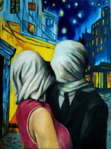 "Lovers on the Patio. Oil on 15x20 canvas. Ma'am Becares instructed us to combine 2 modern art paintings.  For the foreground - I chose Rene Magritte's ""The Lovers"" and for the background, ""Patio"" by Van Gogh."