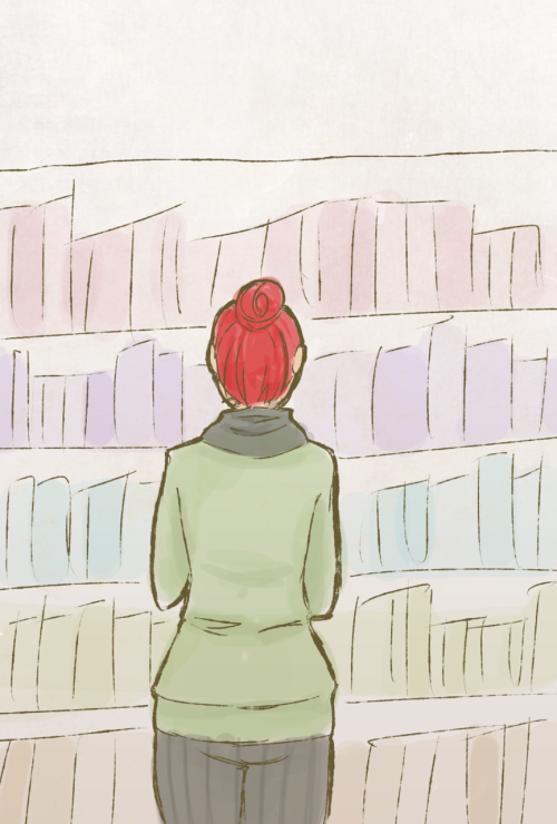 Drawing Challenge Day 4: your favorite place.  mine is the book store.