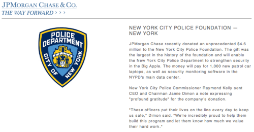 Along with the US Military, the NYPD is just another arm of the Financial System. Click through to visit the page.