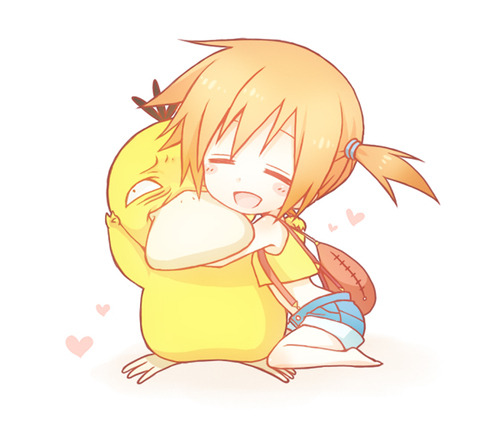 lesumirecastles:  awww Misty and Psyduck :B