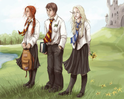 """These have been great,"" said Neville, beaming at Hermione. ""The Carrows never rumbled how we were communicating, it drove them mad. We used to sneak out at night and put graffiti on the walls: Dumbledore's Army, Still Recruiting, stuff like that. Snape hated it."" ""You used to?"" said Harry, who had noticed the past tense.  ""Well, it got more difficult as time went on,"" said Neville. ""We lost Luna at Christmas and Ginny never came back after Easter, and the three of us were sort of the leaders.""   Harry Potter and the Deathly Hallows (chapter 29, p. 463)(via Waiting by ~uknow-who on deviantART)"
