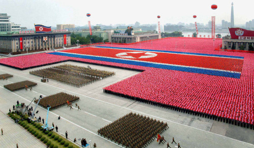 The Big Picture: The North Korean military parades to celebrate the 63rd founding anniversary of the Democratic People's Republic of Korea in Pyongyang on Sept. 9. North Korean leader Kim Jong-Il and his son reviewed the parade of military hardware and thousands of goose-stepping troops, in what analysts saw as a bid to bolster loyalty to the regime. photo credit: AFP/Getty Images (via A step-by-step guide to celebrating - The Big Picture | Boston.com)