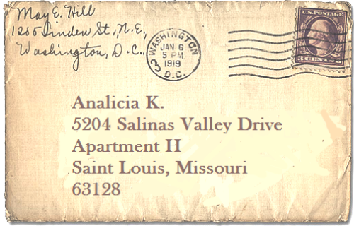 Dear future pen-pal,  I'm a twenty-three-year-old girl from St. Louis, Missouri (USA). I love traveling, reading, painting, playing the ukulele, and internetting in my underwear at odd hours of the night. I write to several of my out-of-town friends and I often send them silly, little gifts. I'm in the market for writing new people, however. I know that we'll just get along famously. All you have to do is write. <3 Love, Miss Analicia