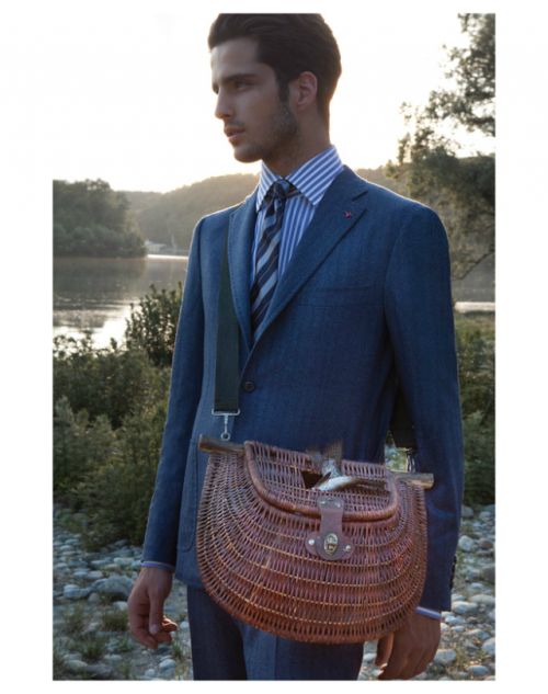 Isaia…This suit is tough. That bag is way too crazed.