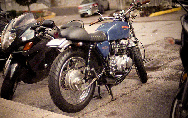 Honda 400 four super sport on Flickr.Via Flickr: Nikon FE2 Nikon NIKKOR 50mm f/1.4 AIS Fuji Superia X-tra ISO 200 (expired)