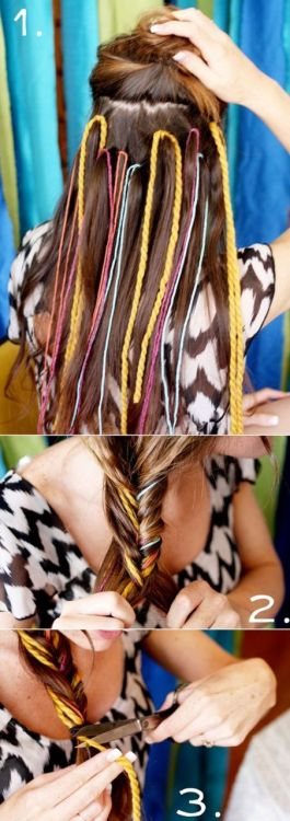 yarn in a fishtail braid. lovely for all trendy brides!