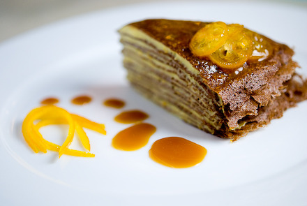 actuallyeatinginstantnoodles:  Chocolate mille crepes with orange pastry cream , orange caramel and candied zest. (click for recipe.)