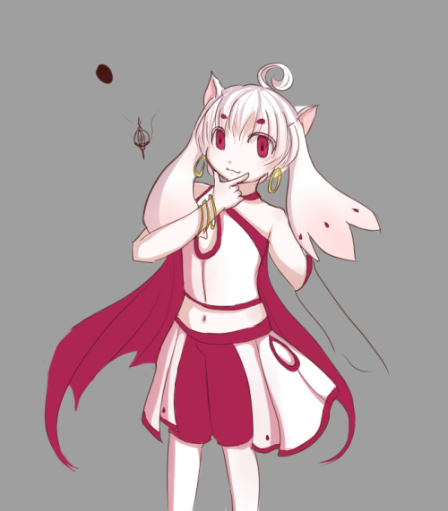 Looool Mochibby wanted Kyubey or a rabbit… I chose Gijinka!Kyubey. |D wip