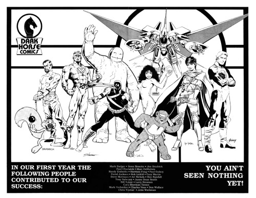 Promotional image celebrating the first year of Dark Horse Comics, 1987.