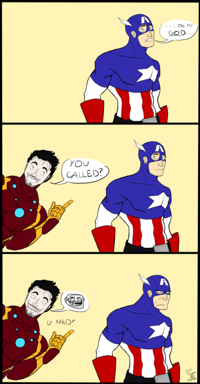 f-yeahpotter: Tony/Steve is such a fun OTP  Not mine - artist isdemonhunterjoan on deviant art.
