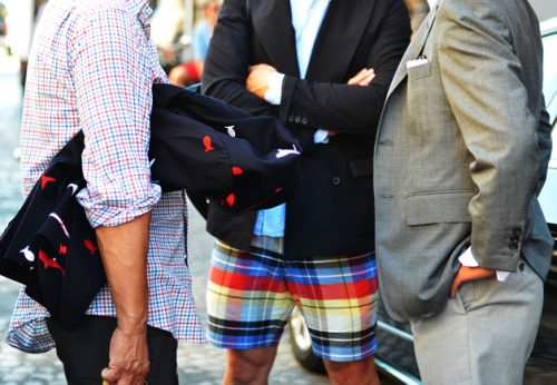 cool madras shorts. im diggin the shark blazer too!