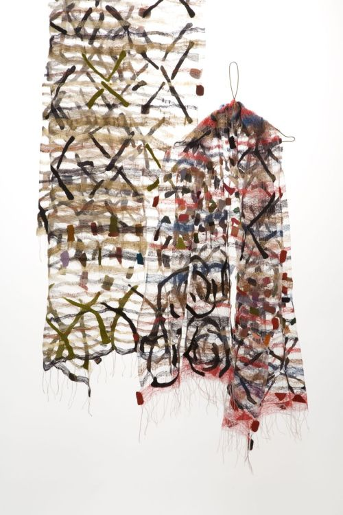 Jorie Johnson (Joi Rae): Confetti Shawls 2008, hand-woven silk fabric, wool.  Photo by Toyoda Yuzo. / Keiko Gallery - Japanese artists