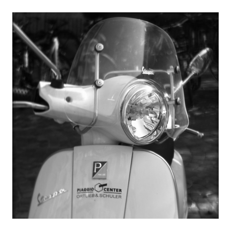 The Vespa.   Taken with SynthCam, black & white and frame with Best Camera.