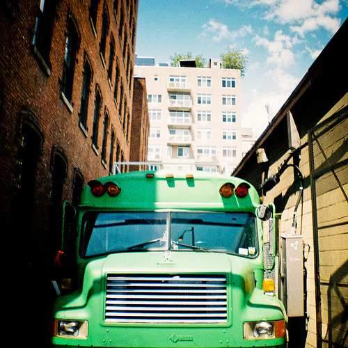 last film roll of summer. dumbo, brooklyn. green alley bus. (by bengrd)