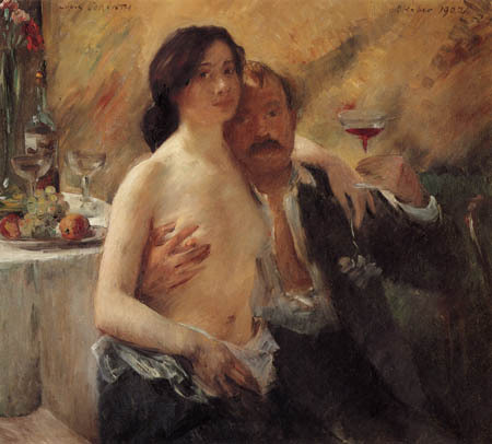 artandopinion:  Self portrait with Charlotte Berend-Corinth 1902  with his wife Lovis Corinth
