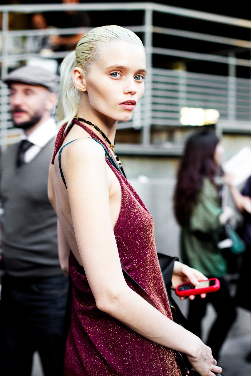 The beautiful, blue eyed, Abbey Lee Kershaw at Paris Fashion Week SS12.