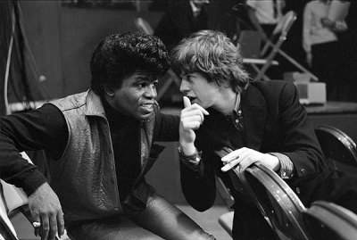 Such an awesome image of James Brown and Mick Jagger backstage (1964). Look at that hair!!  [Wonder]