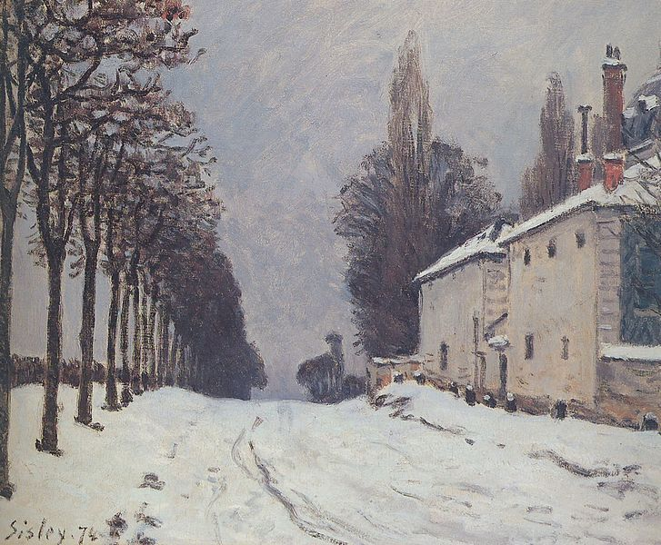 formido:  Snow on the Road, Louveciennes by Alfred Sisley