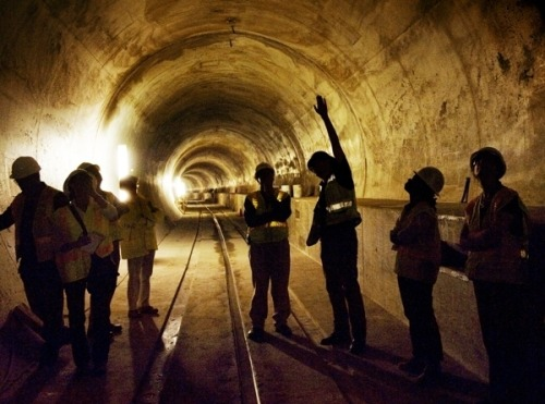 Engineers discuss the technique used to construct a tunnel under Tysons Corner, Va., as part of the Dulles rail project, designed to link Metro service to Dulles Airport and Loudoun County. Photo by Nikki Kahn (The Washington Post)
