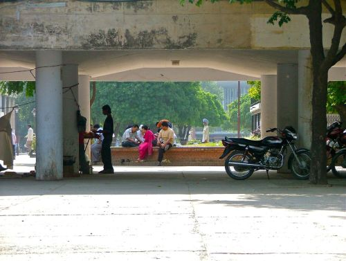Public life animates Corbusier's City Centre. Chandigarh, 2007.
