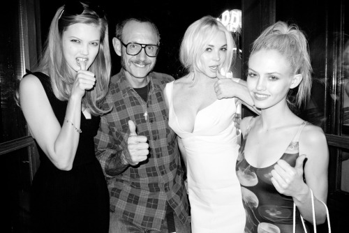 terrysdiary:  Me with Lindsey Wixson, Lindsay Lohan and Charlotte Free at the Lipp.