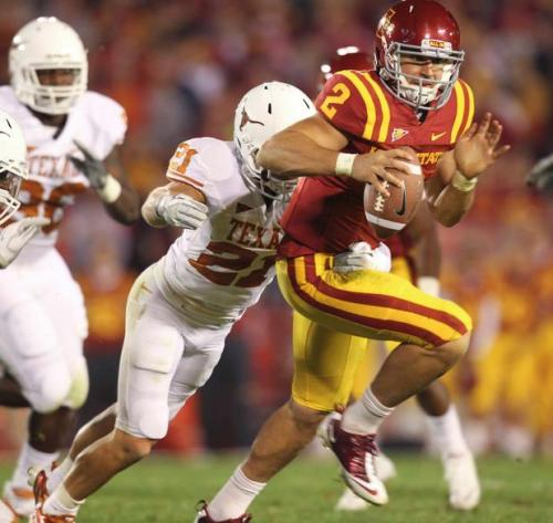 Texas 37 - Iowa State 14 Texas spent a lot of time chasing Steele Jantz around the field, but they won this game pretty decisively.