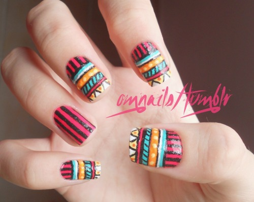 omnails:  Tribal pattern nails | I wanted to do a design different than the usual in OH MY NAILS so there it is, I used a lot of colors to create a crazy pattern, and I hope you enjoy, xoxo :)
