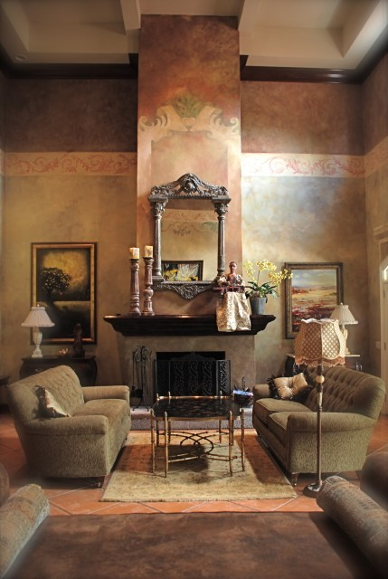Italian style interior design in the living room, great painted walls (via My Italian villa in Honduras - mediterranean - living room -)