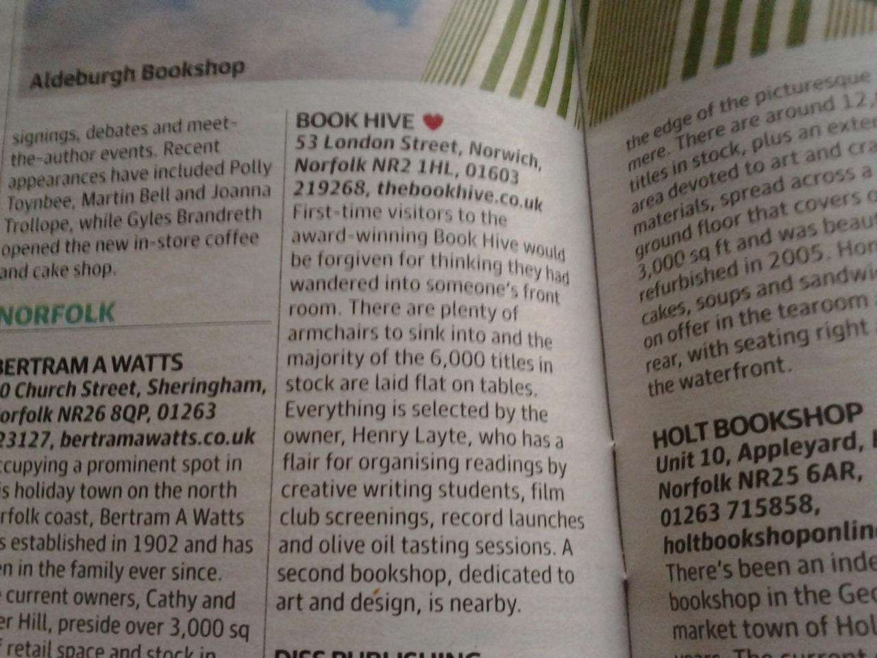 Great to see The Book Hive, Norwich appearing in yesterdays paper.  Went to the opening party of Hive Art a few weeks ago and the place is such a gem. Also in a great location behind NUCA, so please pay a visit!