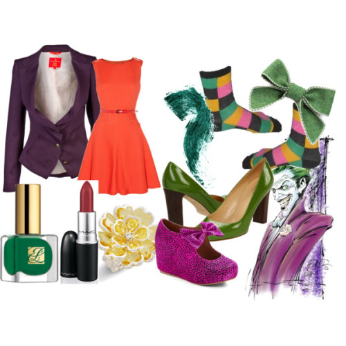 vintagesuperlady: The Joker by heidialukas featuring a boat neck dressOasis boat neck dress, £45Vivienne Westwood Red Label wool blazer, $765Kate Spade leather pumps, $298Jeffrey Campbell platform wedge, $143Mixit metal ring, $4.50Breagha bow brooch, £11Coloured Mascara In Nettle, $16MAC Me Over! 'Shirley & Nicole' Lipstick Prince Noir (M) One Size, $15Amazon.com: The Dark Knight Batman Joker Costume Socks: Clothing, $11