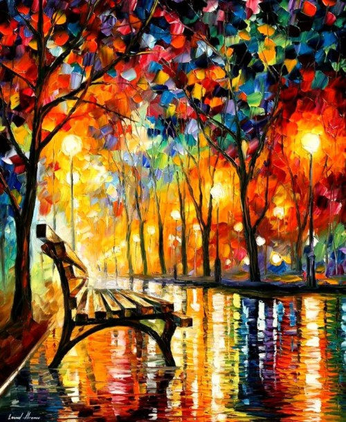 "welovepaintings:  Leonid Afremov ___ Leonid Afremov tried different techniques during his career, but he especially fell in love with painting with oil and palette-knife. Every artwork is the result of long painting process; every canvas is born during the creative search; every painting is full of his inner world. Each of his paintings brings different moods, colors and emotions. Leonid Afremov just like those well-known artists, Da Vinci, Picasso, and Monet loves to express the beauty, harmony and spirit of this world in his paintings. With his heart completely open to art, he enjoys creating inspired and beautiful paintings from the bottom of his soul. Each of his artworks reflects his feelings, sensitivity, passion, and the music from his soul. True art is alive and inspired by humanity. ""I believe that art helps us to be free from aggression and depression"", he said. Afremov.com"