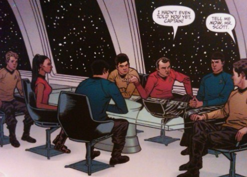 kirkbonesspock:  theinfamousriversong:  They just put the TOS crew in the TNG observation lounge and added a glass table  I just liked seeing them all ~TOGETHER~