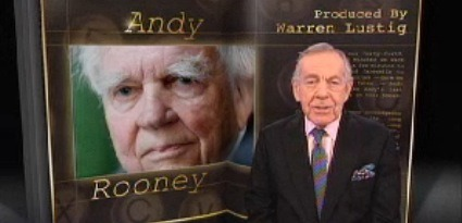 "Airing now? Andy Rooney's final ""60 Minutes"" episode: ""There have been many curmudgeons on television over its long history,"" Morely Safer said, ""but none has been so long-serving in that role as Mr. Rooney - the grandpa Moses of broadcasting. At age 92, perhaps Grandpa Methuselah would be more fitting."" The full clip is over here."
